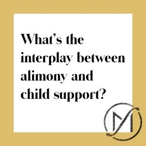 "White square with a gold border and the black words ""What's the interplay between alimony and child support?"" with the Freed Marcroft family law firm logo in the lower right corner."