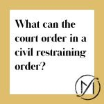 "White square with a gold border and the words ""How do you obtain a civil restraining order?"" with the Freed Marcroft family law firm logo in the lower right corner."