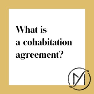 "Gold border around a white square that says ""what is a cohabitation agreement?"" in black letters."