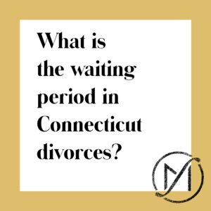 "gold border around a white square that has black letters that read ""What is the waiting period in Connecticut divorces?"""